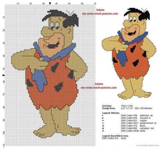 Fred Flintstone free cross stitch pattern 59 x 100 stitches (click to view)