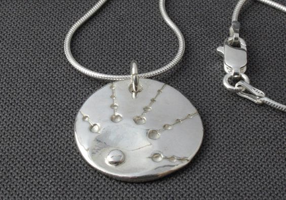 Unique, contemporary handmade silver sun pendant necklace, embossed pendant, quirky pendant, retro pendant, round pendant, space pendant
