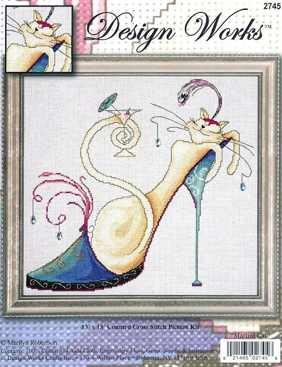 0 point de croix talons aiguilles, escarpins et chat blanc dedans - cross stitch stiletto, high heels with cat inside by marilyn roberston part 1