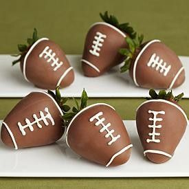 Football strawberries- These are super easy to make. Dip strawberry in milk chocolate, let cool. Then heat up White chocolate, put in bag, and make finishing touches. Perfect for game day!: