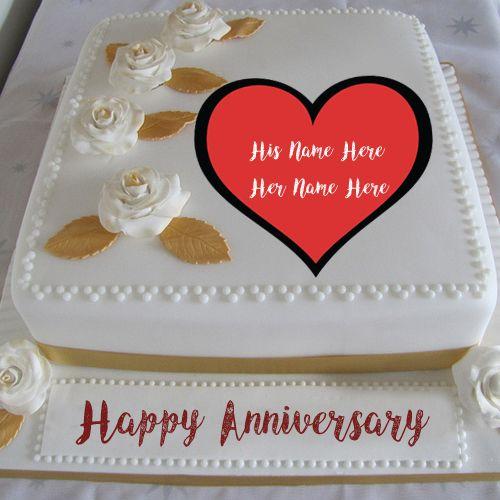 Romantic Anniversary Cake Customs Names Write Image My Name Pix Cards Anniversary Cake With Photo Anniversary Cake Happy Anniversary Cakes