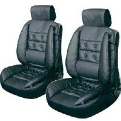 Auto-moto : Housses : Lot de 2 couvres sièges luxe noir.Grand confort, avec bourrelet de renfort. En polyethylène, avec jupe élastique, appuie-tête et soutien lombaire. Taille unique. Coussin cale dos