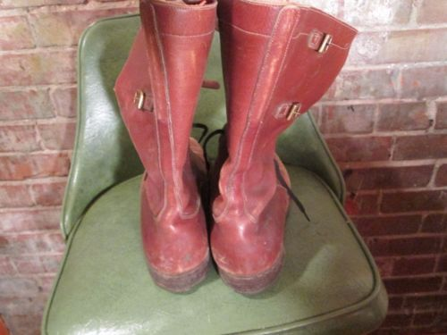 Amazing-Super-Vintage-Brown-Leather-High-Boots-w-Buckles-Leather-Sole