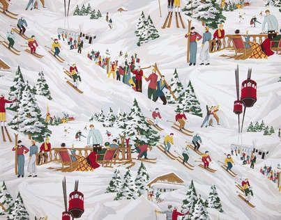 tissu montagne pierre frey les 3 vall es 142 cm r f 2610001 coton imprim motifs skieurs. Black Bedroom Furniture Sets. Home Design Ideas