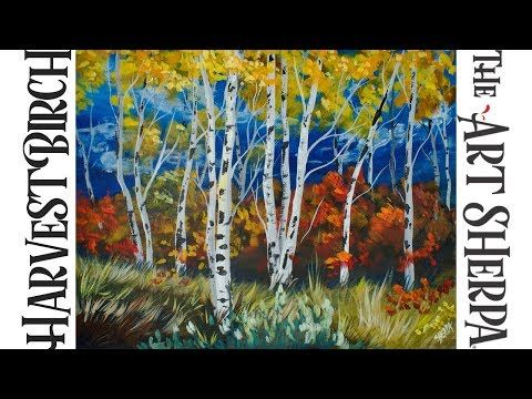 How To Paint With Acrylic Harvest Birch Trees Youtube