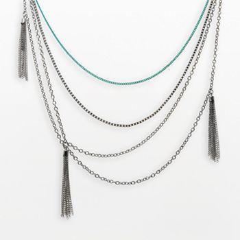 XOXO Silver Tone Tassel Multistrand Necklace