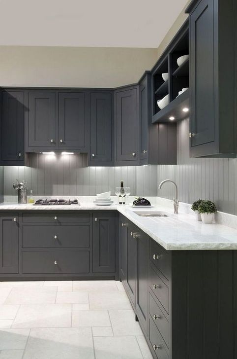 101 Fabulous Dark Grey Themes For Kitchen Design Ideas Painted Kitchen Cabinets Colors Dark Grey Kitchen Cabinets Grey Kitchen Cabinets
