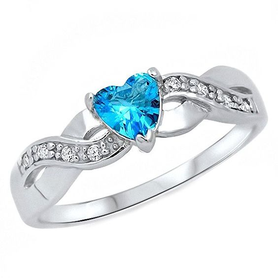 infinity promise rings blue topaz and topaz on