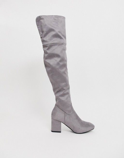 Esclusiva Boohoo Stivali sopra al ginocchio con tacco
