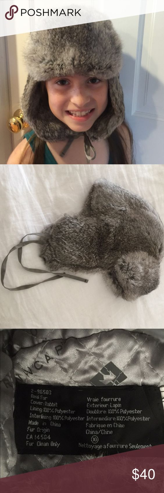Real rabbit fur winter hat. Beautiful grey rabbit fur winter hat. Like new hardly worn. Very versatile, can be worn by a young girl, boy or woman with a smaller head. Purchased in Utah 3 years ago. Crowncap Accessories Hats