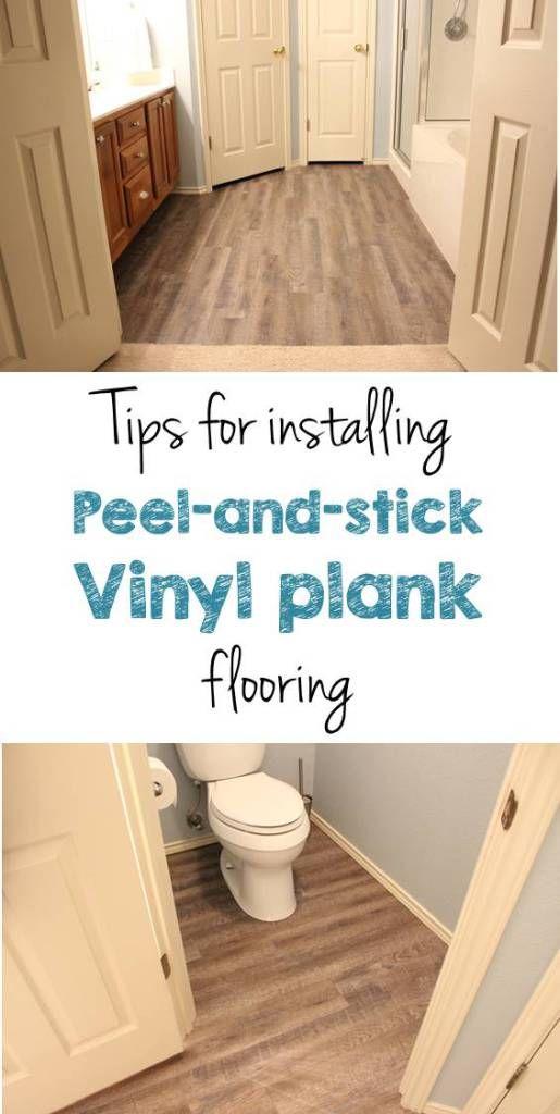 Peel and stick vinyl plank flooring diy vinyls bye bye for Paint vinyl floor bathroom