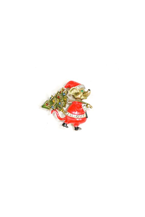 50's__Vintage__Christmas Mouse Brooch