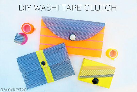 DIY de la pochette en plastique recouverte de masking tape