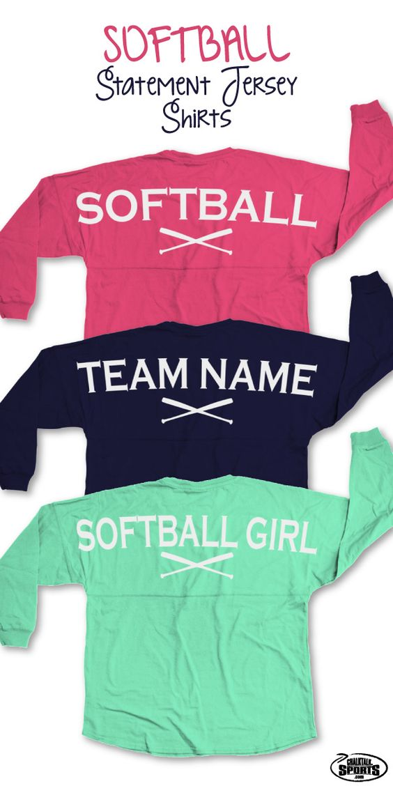Our popular long sleeve crew neck softball statement jersey shirts are over-sized shirts that are guaranteed to be super comfy and perfect for game day or any day! Add your monogram to the front to make it a truly special gift for any softball player or softball fan! These make great team gifts and end of season gifts!  Softball moms will love to sport these shirts to show their support for their daughters and show off their love for the game.  Only from ChalkTalkSPORTS.com!