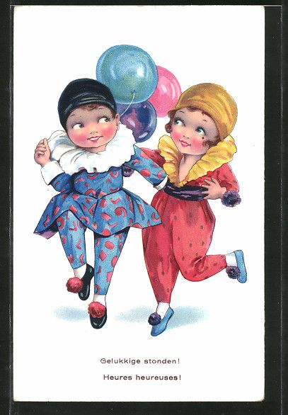 Alte Ansichtskarte: AK Harlekin mit seiner Freundin