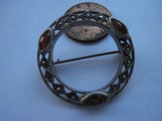 "Vintage Sterling Silver Pin Brooch Garnets and Marcasite 1 1 4"" Diameter | eBay"