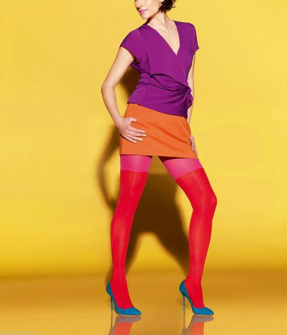 le bourget 2 colors opaque tights 50 den - Collants Opaques Colors