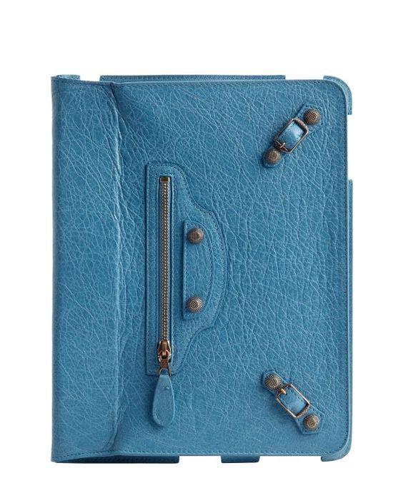Balenciaga turquoise leather buckle detail ipad case
