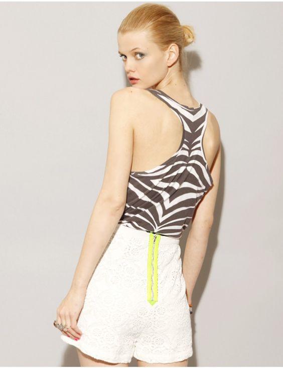 Neon zip white lace shorts [Fun3022] - $102.00 : Pixie Market, Fashion-Super-Market - Shop the latest Fashion Trends