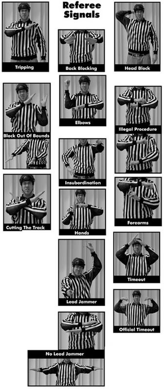 Roller Derby - Referee hand signals. Nice to learn so you know what you're getting called off for...not that we would know anything about that...