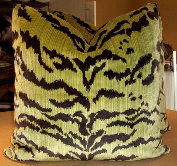 "Moss Green & Black ""TIGER"" Italian Striae Silk Cut Velvet Custom Down Pillow"