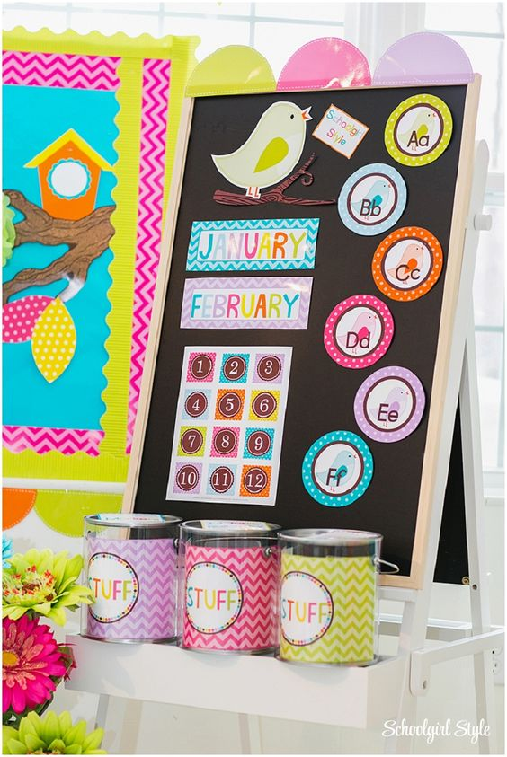 Orange Classroom Decor ~ Owl chevron polka dots pink green orange turquoise