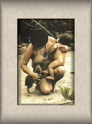 Es una mujer yanomami alimentando una Danta pequeña.