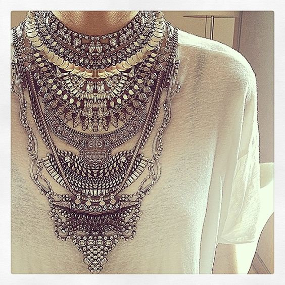 dannijo bib necklace **So in love with this but hv never worn it~always feels like a bit too much in JH. Should pair it with tanks or camisoles and shorty shorts, jeans or leggings...let the necklace do the work. :)