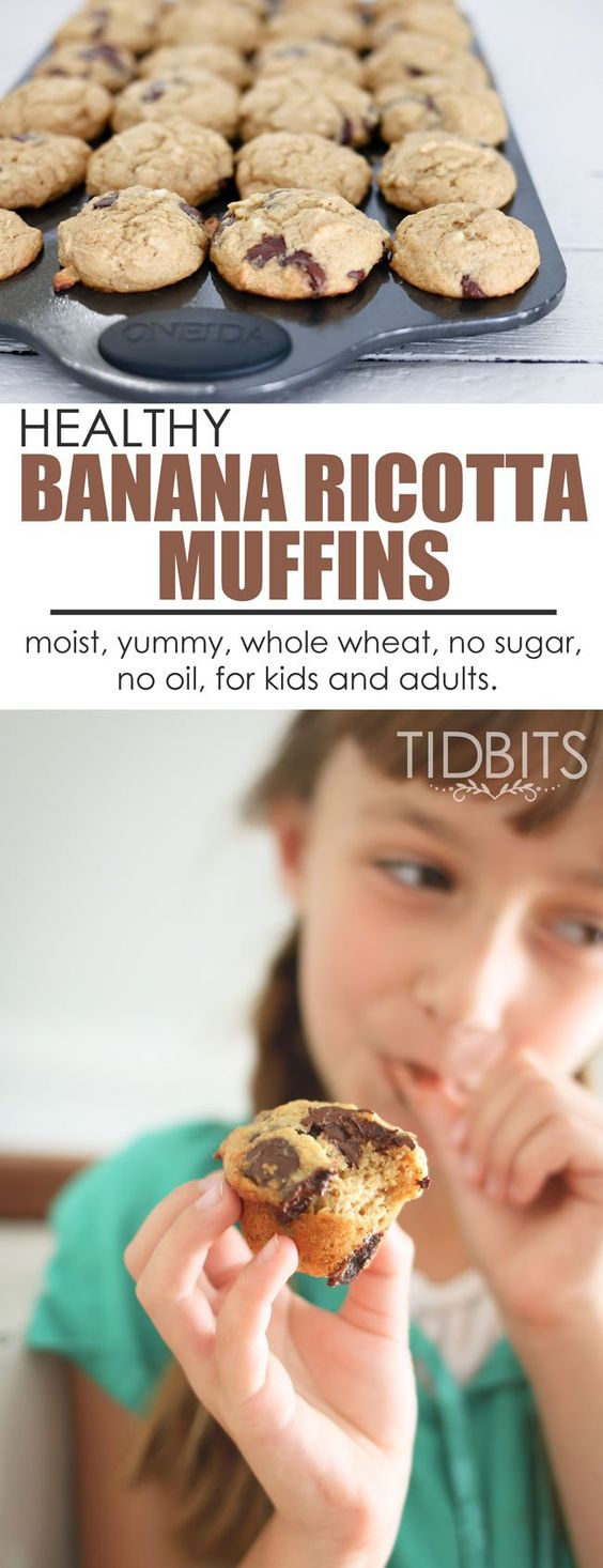 Healthy Banana Ricotta Muffins | These yummy, moist muffins are full of good things for kids and adults.  Made from whole wheat and ricotta cheese, minus any oils or sugar - you can whip these up and feel good eating them by the handfuls!