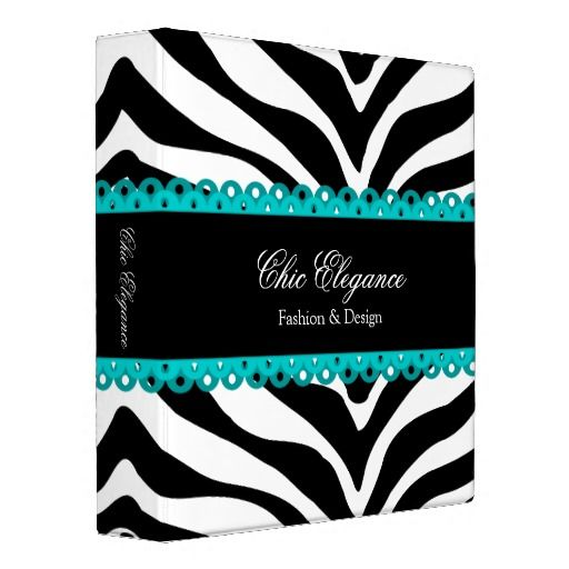 Zebra Print and Lace Turquoise 1.5 Inch Binder // Bulletin Board Colors