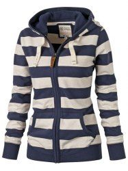 Striped Zippered Hoodie For Women | For women, Hoodies and Sleeve