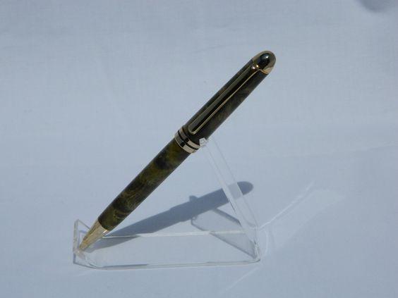 Designer Twist 24kt Pen in Green Stabilized Maple Burl by OCallaCrafts on Etsy