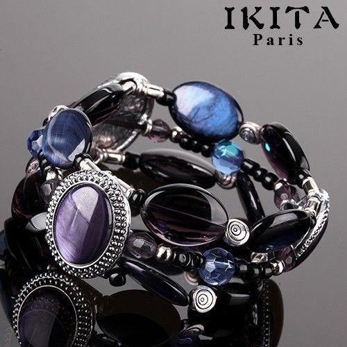 Bracelet amandes bleutés une création Française disponible  www.totem-tendance.fr