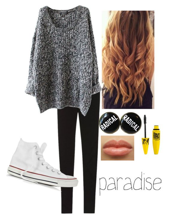 """""""Kind of lazyy I guess ."""" by rxd-ayshaa ❤ liked on Polyvore featuring Victoria's Secret, Converse and Maybelline"""