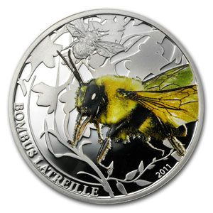 """Palau 2011 Silver $ 2 World of Insects -Bombus Latreille Bumblebee"""