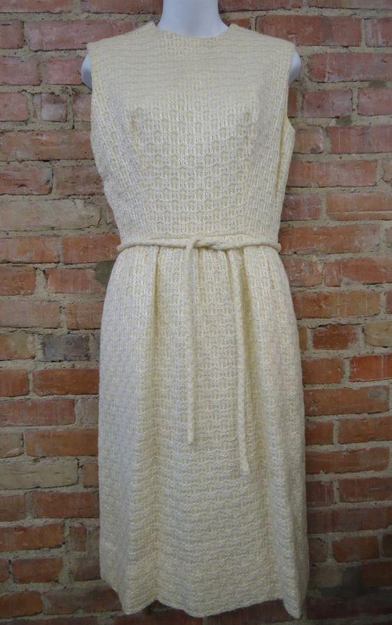 VINTAGE - A.F. Boutique Anne Fogarty Ivory Woven Dress & Blazer Jacket Sz 12 #AnneFogarty