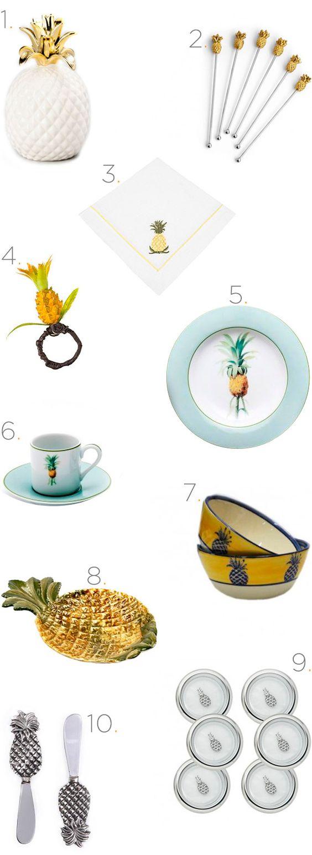 Itens de mesa com tema abacaxi para um almoço tropical - Clique para saber onde comprar