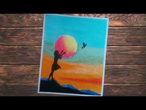 Cara Menggambar Dan Mewarnai Gradasi Dengan Crayon Gambar Siluet Wanit Cara Menggambar Seni Gambar