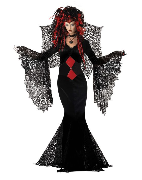 Black Widow Women's Costume - New for 2012! You know what they say about a black widow - she always gets her man...forever. Get whatever you want in this red-hot adult women's Black Widow costume - snare him with your lacy sleeves as you wrap your arms around him while you catch another fellow in your lacy wing.