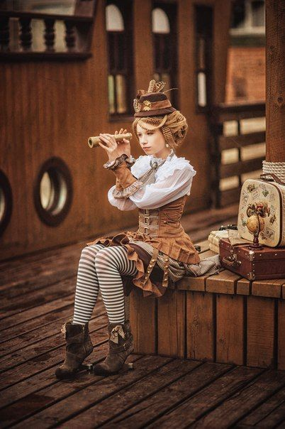 "Blouses, corsets, armbands and stripes seem to say, ""steampunk"""
