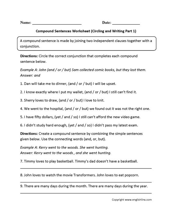 Writing Compound Sentences Worksheet Choice Image Worksheet For