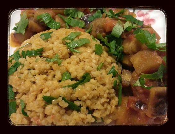 Boulgour à la tomate et fondant d'aubergine à l'huile d'olives (SéverineS)
