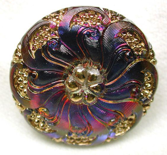 Mirror back Glass Button Flower Swirl Purple/Pink w/ Gold luster FREE US SHIP