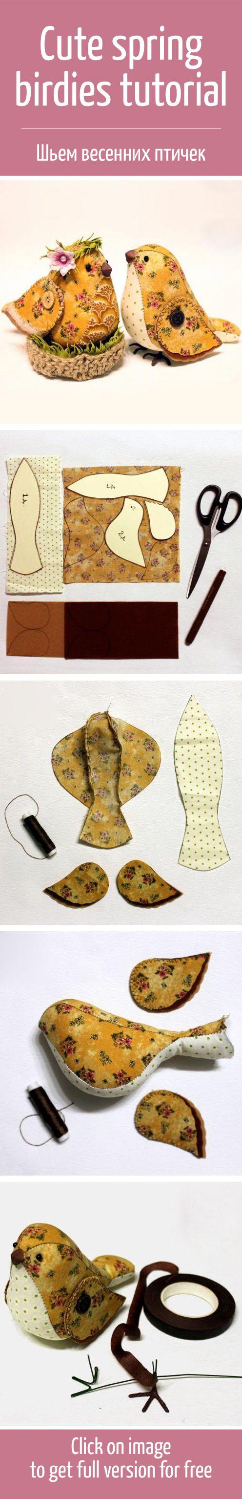 Начинаем готовить весенние сувениры и шьем милых птичек / Cute spring birdies tutorial #handmade #art #design: