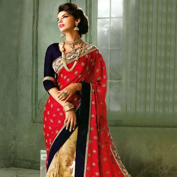 #Red and Beige Satin and #NetSaree with Blouse