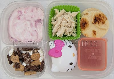 DIY pizza Lunchable.  Homemade strawberry yogurt, shredded chicken, naan cut outs, an #Easylunchboxes Mini Dipper full of sauce, Hello Kitty with shredded cheese and some s'more Goldfish.