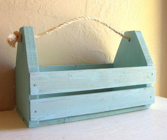 Nautical Turquoise Blue Wood Caddy Tool Box Rope Handle