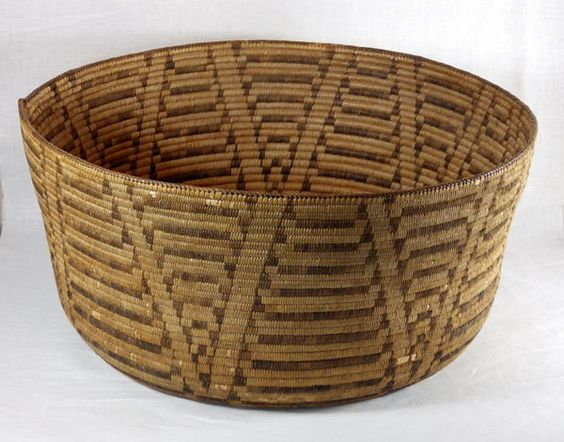 "Huge Tohono O'dham Indian willow basket is 21"" diameter by 10"" deep."