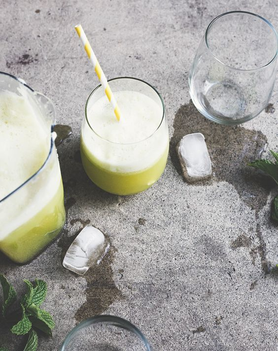 pineapple-apple-lemon juice with mint.