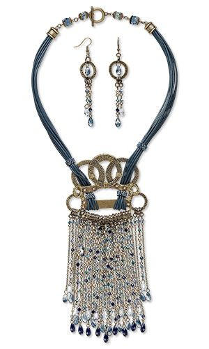 Multi-Strand Necklace and Earring Set with SWAROVSKI ELEMENTS, Antiqued Gold-Plated Brass Componenets and Leather Cord